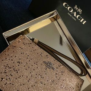 Coach Boxed Small Wristlet With Star Glitter